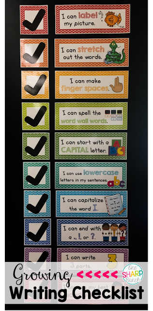 Create indepedent writers with this kid-friendly growing Writing Checklist! Begin with just one item on the board and use the corresponding paper with that same checklist item. Then, add more items and change papers as the year progresses!