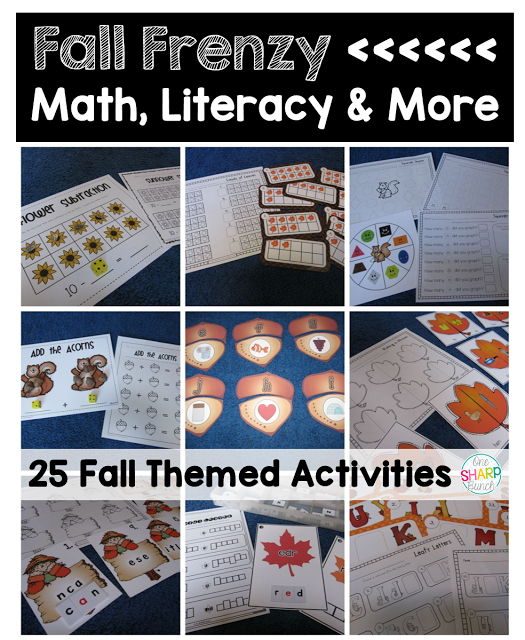 25 fall math and literacy centers, and so much MORE! Hands-on and engaging fall themed centers! Plus, grab a fall FREEBIE!