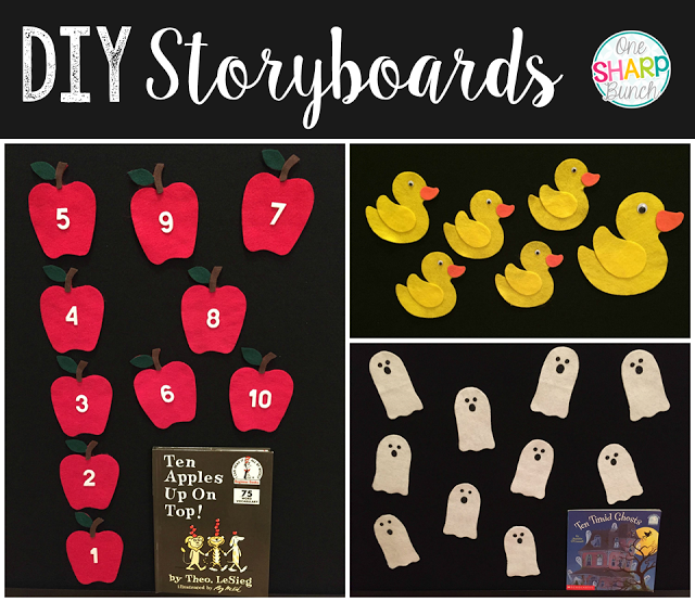 Step-by-step DIY felt board and felt apples, felt ghosts, and felt Five Little Ducks storyboards!