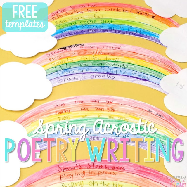 """This """"Spring"""" acrostic poem is the perfect way to incorporate poetry activities into your daily lessons this spring! Don't forget to check out the great poetry writing prompt perfect for creating a copycat poem about rain!"""