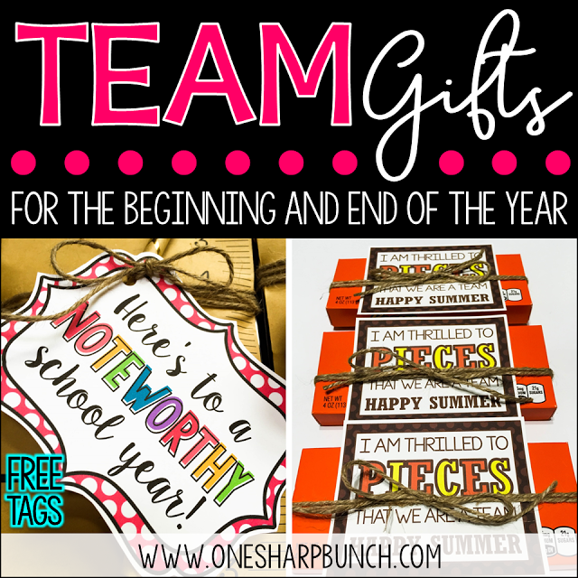 Get ready for back to school with these adorable team gifts! Simply print the free gift tag, and you're coworker gifts will be all set! Here's to a NOTEWORTHY school year that I'm sure your team will be thrilled to PIECES about!